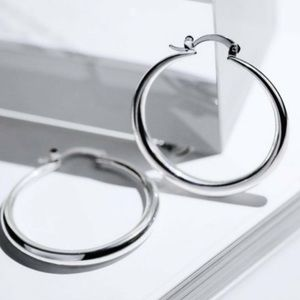 "New 18K White Gold 1.5""Round Hoops Earrings"